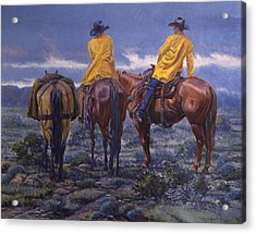 Yellow Slickers Acrylic Print by Randy Follis