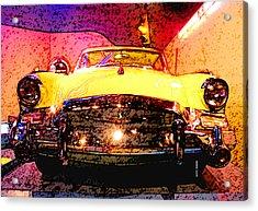 Yellow Studebaker Headlights Acrylic Print by Design Turnpike