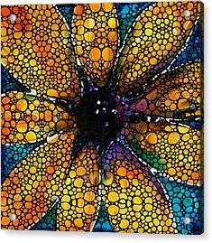 Yellow Sunflower - Stone Rock'd Art By Sharon Cummings Acrylic Print by Sharon Cummings