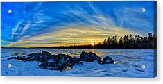 Yellow Sunset At Meddybemps Panorama Acrylic Print by Bill Caldwell -        ABeautifulSky Photography