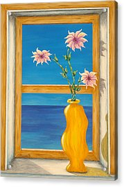 Yellow Vase With Sea View Acrylic Print by Pamela Allegretto