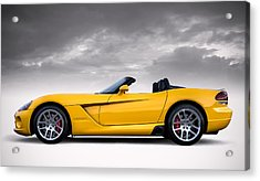 Yellow Viper Roadster Acrylic Print by Douglas Pittman