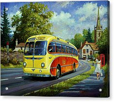 Yelloways Seagull Coach. Acrylic Print by Mike  Jeffries