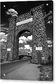 Yellowstone National Park Gate - Black And White Acrylic Print by Gregory Dyer