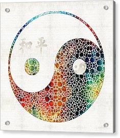 Yin And Yang - Colorful Peace - By Sharon Cummings Acrylic Print by Sharon Cummings