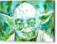 Yoda Watercolor Portrait Acrylic Print by Fabrizio Cassetta