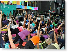 Yoga In Times Square Acrylic Print by Diane Lent