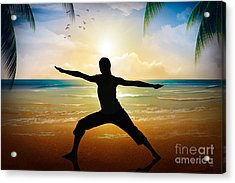 Yoga On Beach Acrylic Print by Bedros Awak