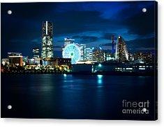 Yokohama Minatomirai At Night Acrylic Print by Beverly Claire Kaiya
