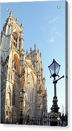 York Minster With Lampost Acrylic Print by Neil Finnemore