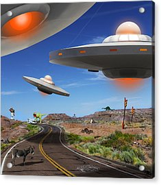 You Never Know What You Will See On Route 66 2 Acrylic Print by Mike McGlothlen