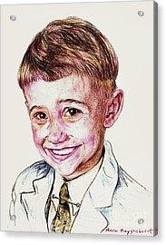 Young Boy Acrylic Print by PainterArtistFINs Husband MAESTRO