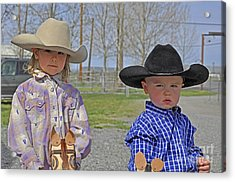 Young Cowboy And Cowgirl Stick Ponies Acrylic Print by Valerie Garner