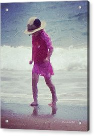 Young Girl At The Beach Acrylic Print by Patricia Januszkiewicz