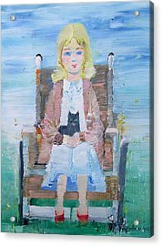 Young Girl-with Cat- On Wheelchair Acrylic Print by Fabrizio Cassetta