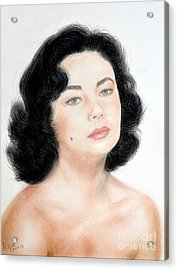Young Liz Taylor Portrait Remake Acrylic Print by Jim Fitzpatrick