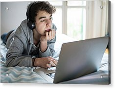 Young Man Using Laptop Acrylic Print by Mauro Fermariello