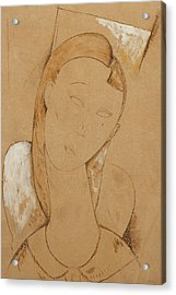 Young Woman  Giovane Donna Acrylic Print by Amedeo Modigliani