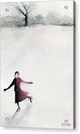 Young Woman Ice Skating Watercolor Painting Acrylic Print by Beverly Brown Prints