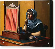 Young Woman Putting On Lipstick Acrylic Print by Felix Edouard Vallotton