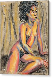 Young Woman Resting And Contemplating Acrylic Print by Asha Carolyn Young