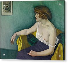 Young Woman Seated In Profile Acrylic Print by Felix Edouard Vallotton