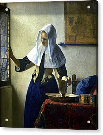 Young Woman With A Water Pitcher Acrylic Print by Johannes Vermeer