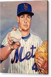 Zach Wheeler New York Mets Acrylic Print by Michael  Pattison