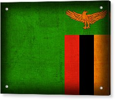 Zambia Flag Distressed Vintage Finish Acrylic Print by Design Turnpike