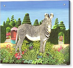 Zebra In A Garden Acrylic Print by Anthony Southcombe