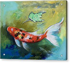 Zen Butterfly Koi Acrylic Print by Michael Creese