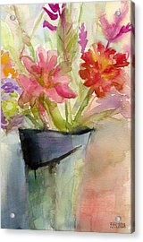Zinnias In A Vase Watercolor Paintings Of Flowers Acrylic Print by Beverly Brown