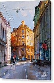 Zlatoustinskiy Alley.  Acrylic Print by Alexey Shalaev