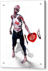 Zombie Love Acrylic Print by Frederico Borges