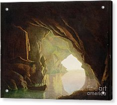 A Grotto In The Gulf Of Salerno - Sunset Acrylic Print by Joseph Wright of Derby