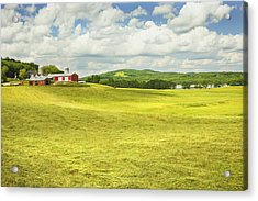 Hay Harvesting In Field Outside Red Barn Maine Acrylic Print by Keith Webber Jr