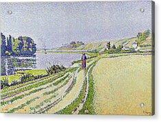Herblay La River  Acrylic Print by Paul Signac