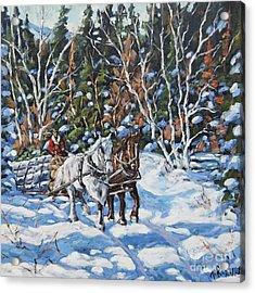 Horses Hauling Wood In Winter By Prankearts Acrylic Print by Richard T Pranke