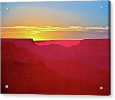 Sunset At Grand Canyon Desert View Acrylic Print by Bob and Nadine Johnston