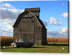 Vintage Cadillac And Barn Acrylic Print by Lyle Hatch
