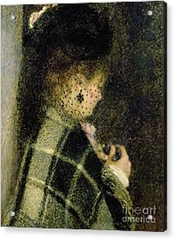 Young Woman With A Small Veil Acrylic Print by Pierre Auguste Renoir
