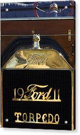 1911 Ford Model T Torpedo Hood Ornament Acrylic Print by Jill Reger