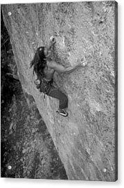 A Caucasian Women Rock Climbing Acrylic Print by Bobby Model