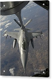 A Chilean Air Force F-16 Refuels Acrylic Print by Giovanni Colla