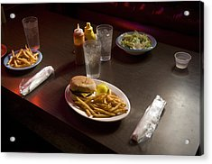 A Hamburger Lunch At A Restaurant Acrylic Print by Joel Sartore