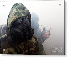 A Marine Wearing A Gas Mask Acrylic Print by Stocktrek Images