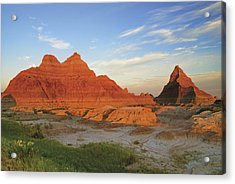 A Red Sunrise Illuminates The Hills In Acrylic Print by Philippe Widling