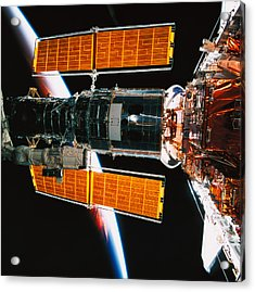 A Satellite Docked On The Space Shuttle Acrylic Print by Stockbyte