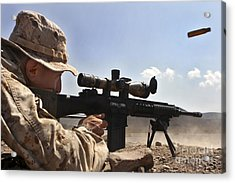 A Scout Sniper Fires His Mk-11 Sniper Acrylic Print by Stocktrek Images