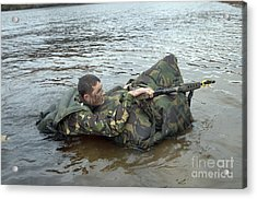 A Soldier Participates In A River Acrylic Print by Andrew Chittock